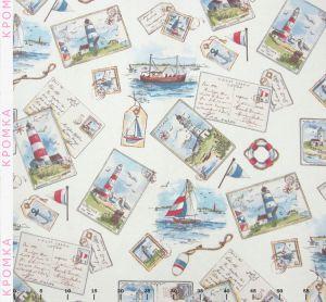 Ткань из ярких открыток в Морском стиле