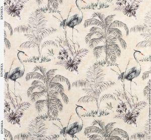 Ткань с птицами и растениями