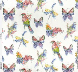 Ткань для штор с птицами и бабочками