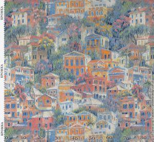 Ткань для штор с разноцветными домиками