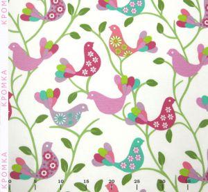 Шторная ткань в детскую с птицами