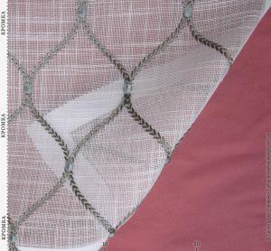 Тюль-сетка белая с вышивкой косичками