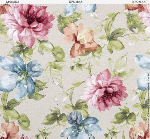 Натуральная ткань с крупными цветами
