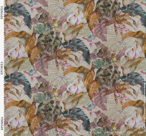 Ткань с листьями и бабочками