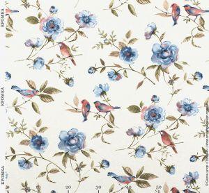 Ткань с цветами и птицами