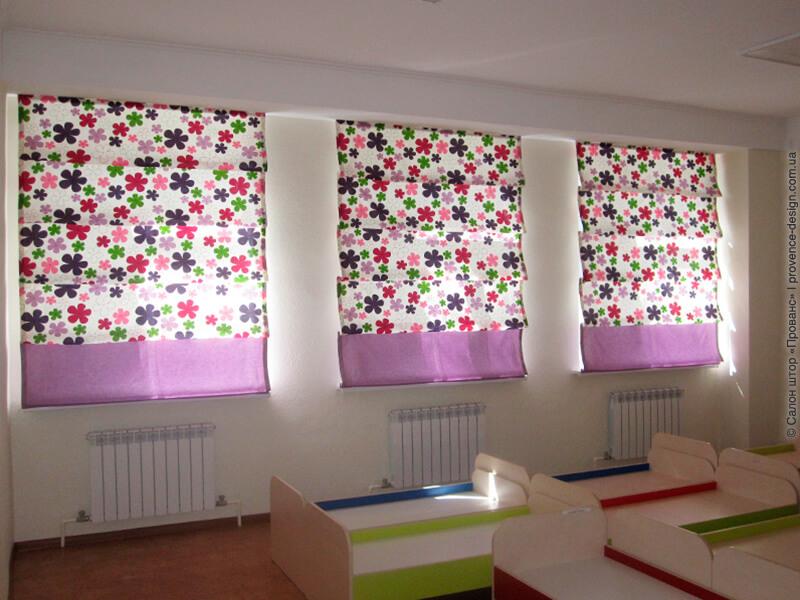 Римские шторы с цветами для детского сада фото