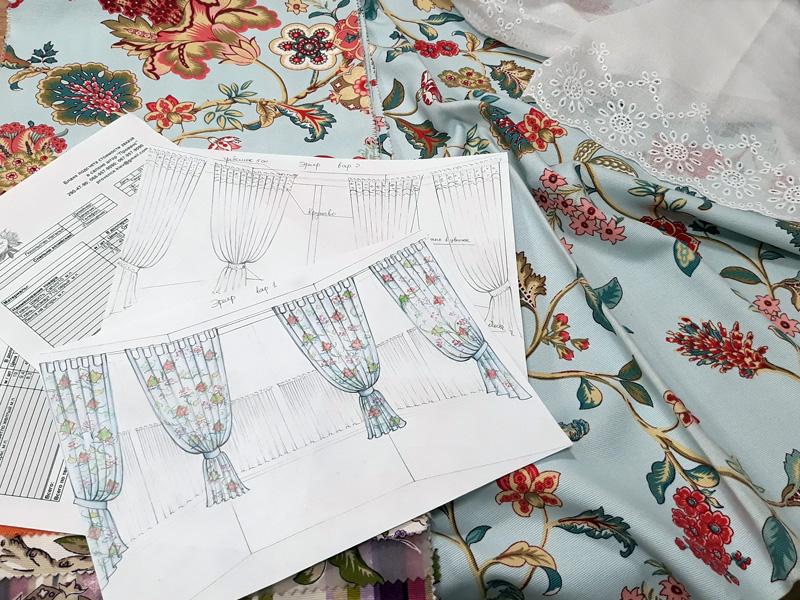 Эскизы и подбор ткани на шторы в салоне фото