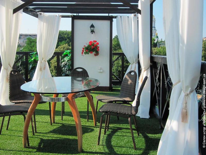 Шторы для беседок и веранд на люверсах из итальянского дралона фото