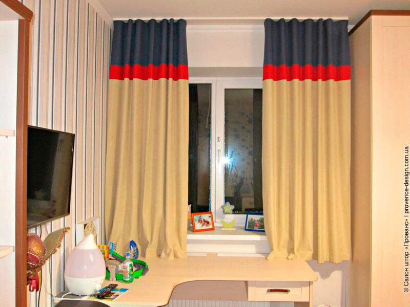 Верх короткой трёхцветной шторы складка волна фото