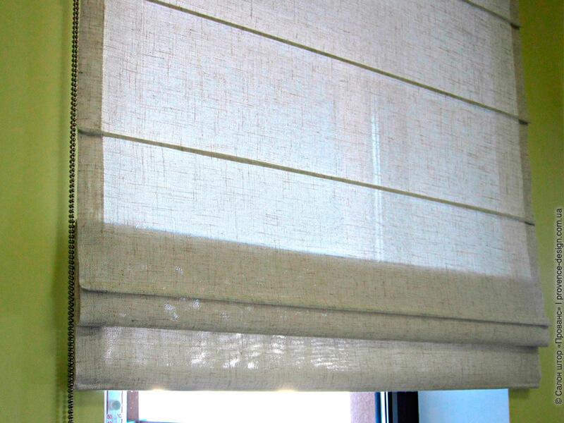 Римская штора из ткани с фактурой льна в современном стиле фото